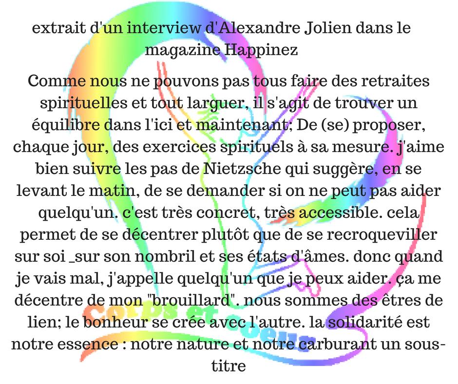 un message par jour du site corpsetcoeur.com extrait interview Alexandre Jolien
